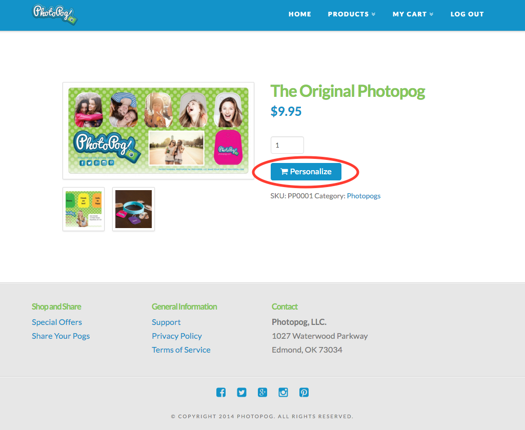 Click personalize to start personalizing your Photopog design.