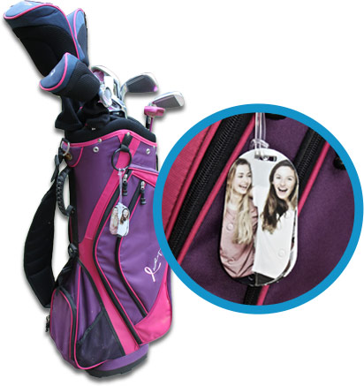 PhotoPog Bag Tag on Golf Bag with zoomed in view